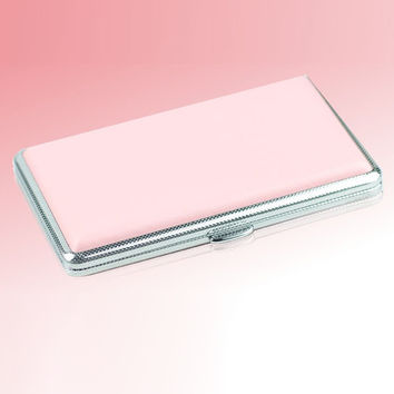 Pink Leather Case For Cigarette Woman Slim Cigarette Case Box Hold For 14Pcs 100mm Cigarettes XN245