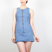 Vintage 90s Dress Blue Jean Micro Mini Dress 1990s Dress Soft Grunge Dress Denim Dress Guess Denim Dress Shift Dress XS XXS Extra Small