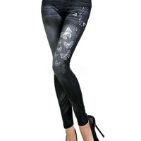 Butterfly Print Denim Leggings