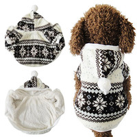 Coral Color Fleece XS-XL Soft Winter Warm Pet Dog Clothes Cozy Snowflake Dos Costume Clothing Jacket Teddy Windproof Hoodie Coat