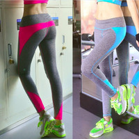 Women Slim Fit Sport Suit Fitness Sportswear Stretch Exercise Yoga  Trousers Pants _ 2122
