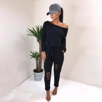 Women Tracksuit Sweatsuit Long Sleeve Jumpsuits Stretchy Overall Off Shoulder Broken Hole Casual Bodysuits Rompers 2 piece Women Clothing