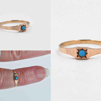 Antique Victorian 10K Rose Gold & Turquoise Baby Ring, Persian Blue, Size 1 1/4, Christening, New Baby, Midi, Pinky, Sweet! #b979