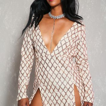 Sexy Rose Gold Beige Sequin Detail Long Sleeve Bodycon Party Dress