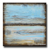 GICLEE PRINT Blue Abstract Painting Blue Brown Modern Urban Canvas Print Coastal Beach Artwork
