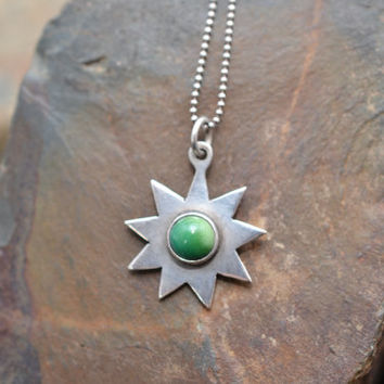 Sterling Silver Star Pendant with Green Stone on Sterling Silver Ball Chain