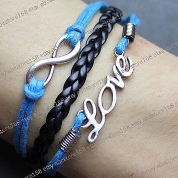 Love Bracelet-silver karma bracelet-infinity bracelet-blue rope, black braided bracelet adjustable