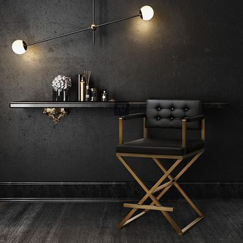 Director Gold Steel Counter Stool