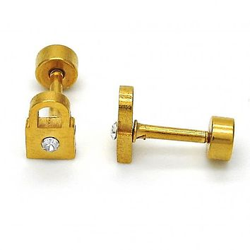 Stainless Steel 02.216.0046 Stud Earring, Lock Design, with White Crystal, Polished Finish, Golden Tone