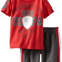 U.S. POLO ASSN. Baby Boys' Short Sleeve Graphic T Shirt And Mesh Short, Engine Red, 18 Months