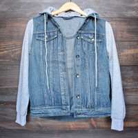 denim vested hoodie with grey sleeves