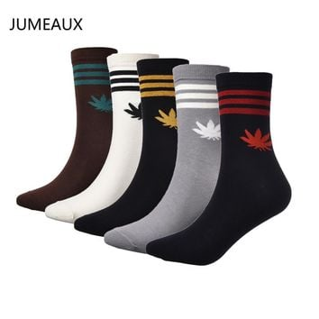 JUMEAUX Men Sock Cotton Long Fashion Skateboard Autumn Winter Warm Breathing Maple Leaf Strip Socks
