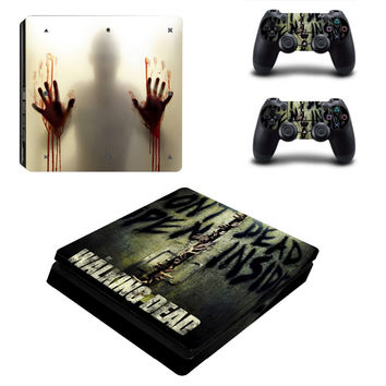 For Playstation 4 Slim For PS4 Slim Console 2 Pcs Vinyl decal Skin Stickers for Controller - Walking Dead