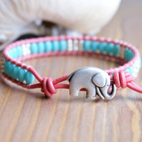 Bohemian beaded leather wrap, Good Luck, hipster, Blue Turquoise glass, silver, elephant, coral leather, beach jewelry, trendy, boho chic