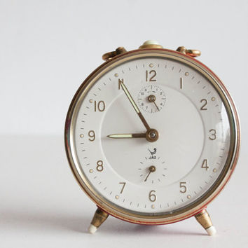 French Alarm Clock, Vintage Jaz Retro Clock, Red Bordeaux Gold, Modern Summer, Gift for Mother Her, Home Decor