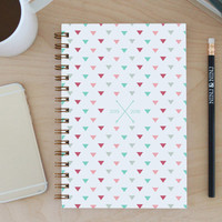 """2015-2016 Weekly Planner: 12-month Academic """"Triangles"""" with back pocket, bronze wire binding, stickers and tabs"""