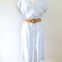 light blue shirtdress - 80s vintage vertical stripe sleeveless sheath slouchy oversize fit midi length cotton day dress button up boho