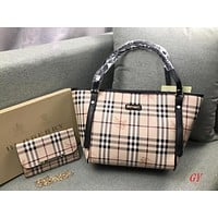 Burberry Women Fashion Leather Handbag Satchel Shoulder Bag Purse Wallet Set Two Piece
