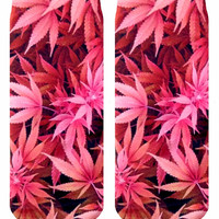 Pink Weed Ankle Socks