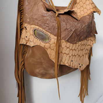 Raw leather sand color animal distressed fringed bag fringe raw tote hobo tribal large elvish asymmetrical  leather bag artisan  handmade
