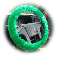 Emerald Green fuzzy faux fur car steering wheel cover fluffy and furry