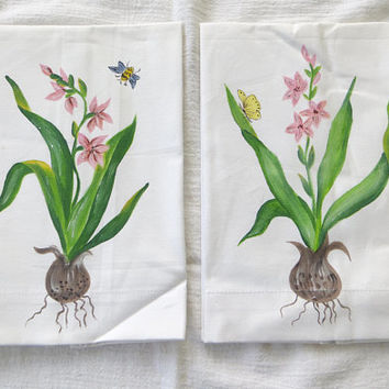 Hand Painted Tea Towels,Botanical Guest Towels Lot of 2,  Vintage Pair of Towels, Paris Decor, Shabby Chic Home, French Country