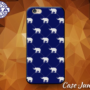 Blue Elephant Argyle Preppy Pattern Cute Animal Rubber Custom Case For iPhone 4 and 4s and iPhone 5 and 5s and 5c and iPhone 6 and 6 Plus +