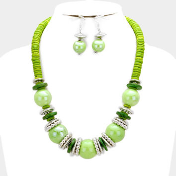 Chunky Green & Silver Bead wood disc cluster bib necklace and earring set