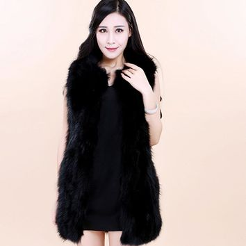 2016 Winter Women's Fur Vest Mink Fur Jacket Warm Fur Vest   Faux Fur Coat