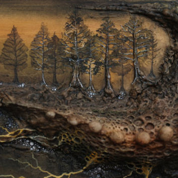 Mixed Media Lovecraft Inspired Abstract Landscape Painting Watercolor Creepy Art Pine Trees Veins Roots Monster Clay Sculpture