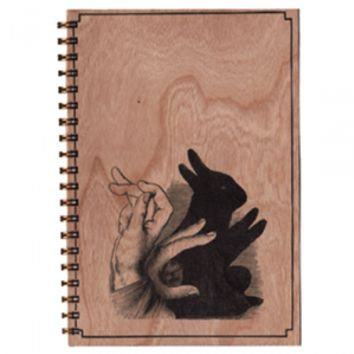 Shadow Bunny Wood Notebook