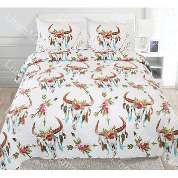 Skull Flower & Feather Quilt Rustic Southwest Bedspread Coverlet -3 Pc Set