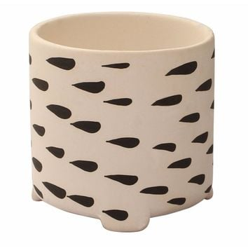 Ceramic Flower Plant Pot With Drizzling Drop Pattern, Black And White By Benzara