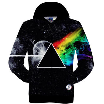 New 2015 fall mens pullover hoodie 3D graphic print Pink Floyd galaxy hooded sweatshirt hip hop sweat shirts for men/women