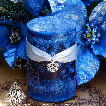 Blue Snowflake . 2x3 Pillar Candle . Snow drenched Forest Woods, Vanilla, Musk, Apple, Cinnamon, Star Anise, Ginger