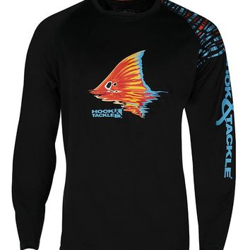 Men's Black Spot Vented UV L/S Fishing Shirt