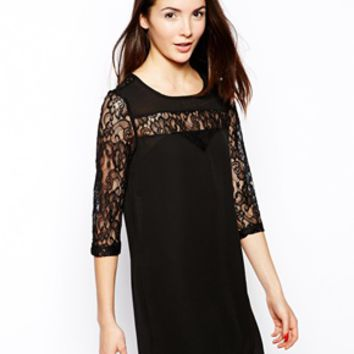 TFNC Vanille Swing Dress with Lace Sleeves -