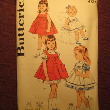 SALE Complete 1950's Butterick Sewing Pattern, 9315! Size 2 Toddler/Girls/Kids/Child/Pinafore Dresses/Puffy Sleeves/Sleeveless Sundress/Coll