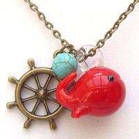 Antiqued Brass Rudder Turquoise Lampwork Whale Necklace