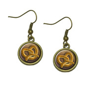 German Soft Pretzel Dangle Drop Earrings