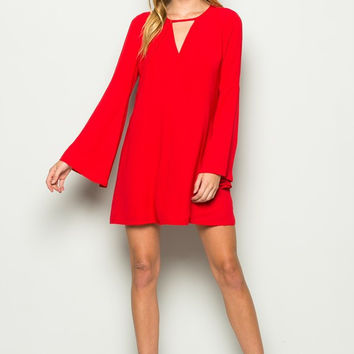 Flowy Bell Shape Sleeved Dress - Red