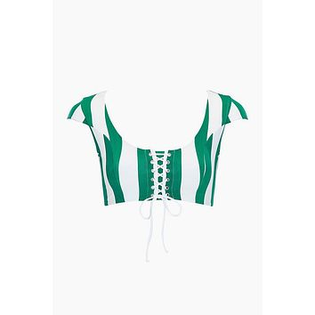 Henley Lace Up Front Bikini Top - Billiard Green Stripe Print
