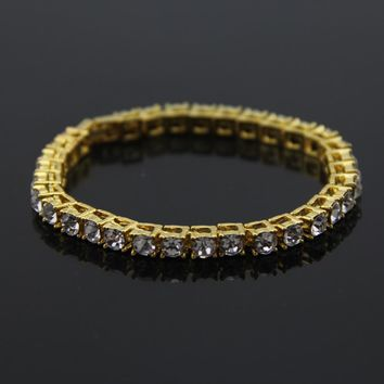 Hip Hop Gold Chain 1 Row 5mm Round Cut Tennis Chain Bracelet 7.8 inch Length Mens Punk Iced Out Rhinestone Chain Bracelet