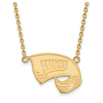 NCAA 14k Gold Plated Silver Western Kentucky U Large Pendant Necklace
