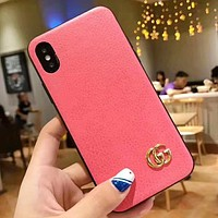GUCCI Fashion New Leather Women Men Protective Cover Phone Case Pink