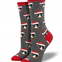 Santa Cats Socks - Heather Grey
