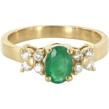 Vintage Emerald Diamond Flower Right Hand Ring 14 Karat Yellow Gold Estate Fine
