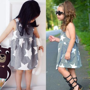 Toddler Kid Baby Girls Stars Dress Party Pageant Dress Sundress Clothes US Stock