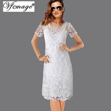 Vfemage Womens Sexy Embroidered Floral Sheer Mesh Belted Casual Beach Loose Midi Dress With Cami Slip Dress Two Pieces Set 6099