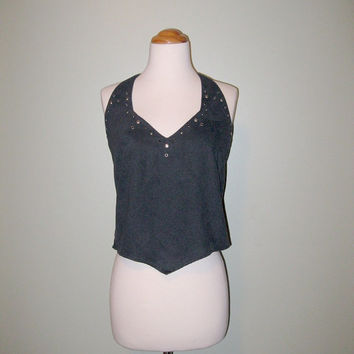 FREE SHIPPING Vintage 80s Harley Davidson Shirt / Sexy Black Halter Top / Women / Size Small / Biker Shirt